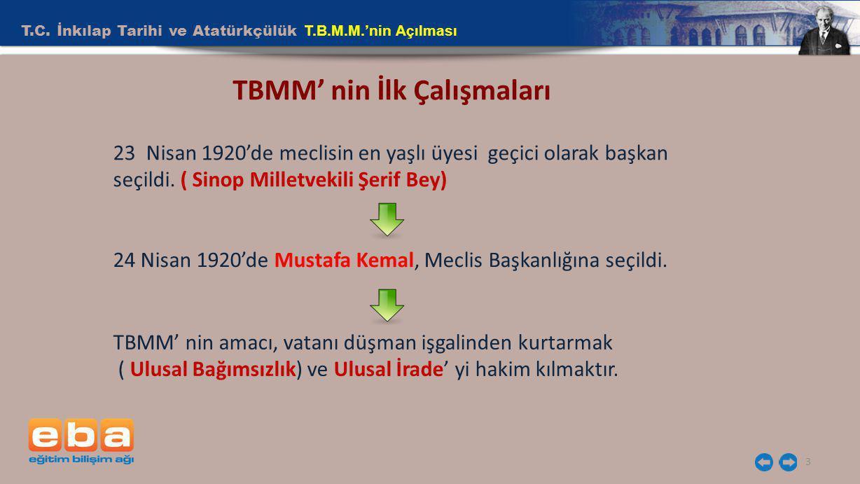 TBMM' nin İlk Çalışmaları