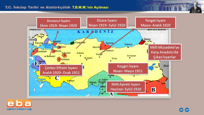 Milli Mücadele'ye Karşı Anadolu'da Çıkan İsyanlar