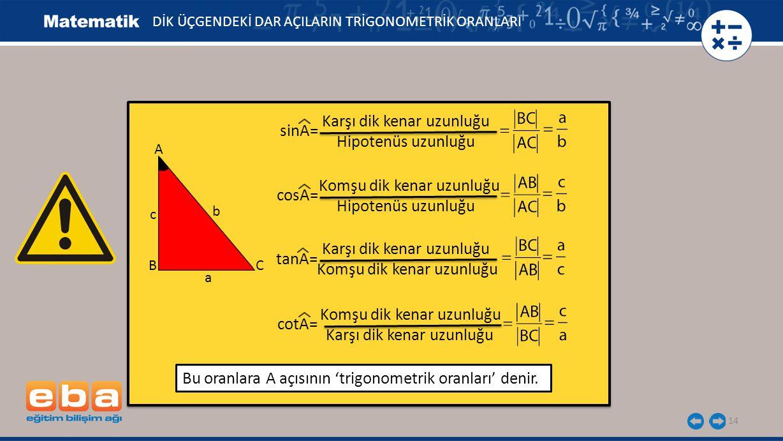 Karşı dik kenar uzunluğu sinA= Hipotenüs uzunluğu