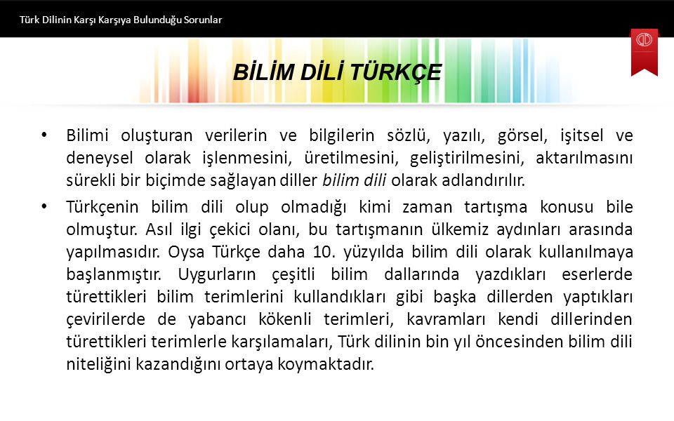 Türk Dilinin Karşı Karşıya Bulunduğu Sorunlar