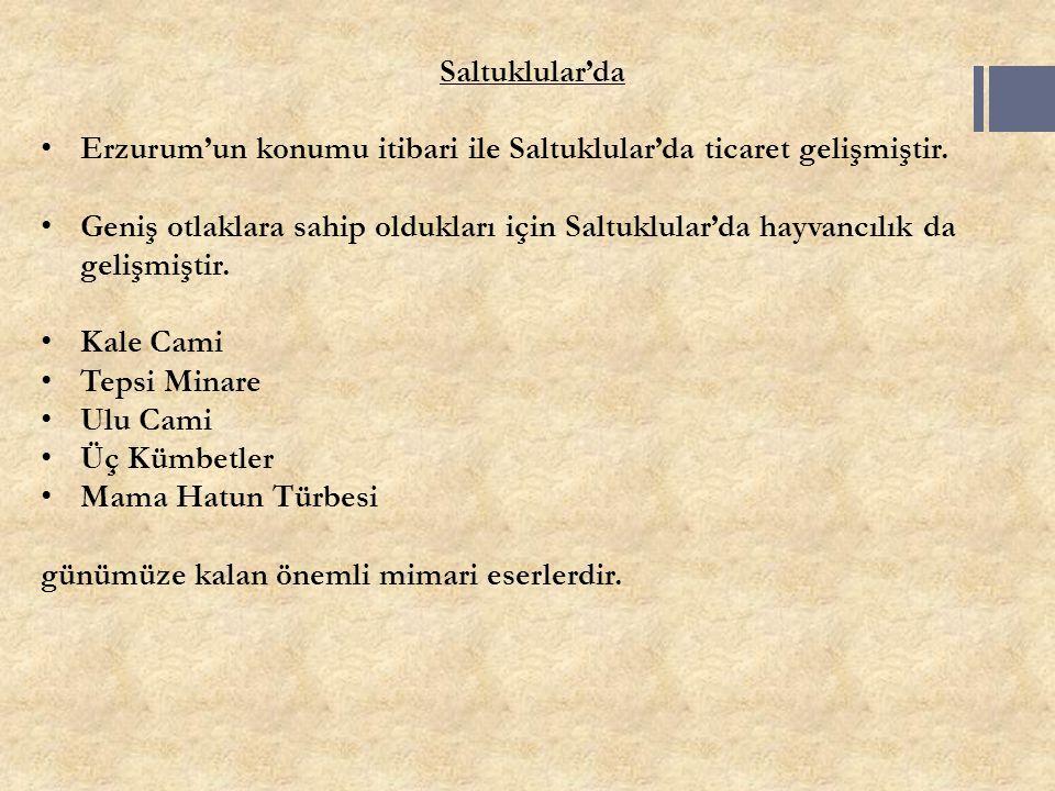 Saltuklular'da Erzurum'un konumu itibari ile Saltuklular'da ticaret gelişmiştir.