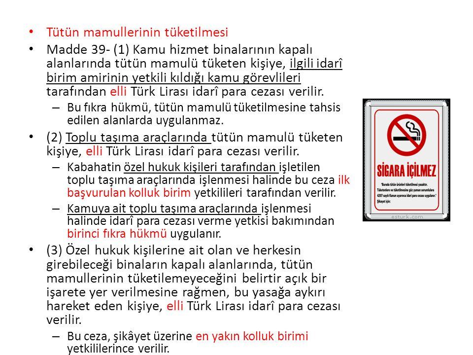 Tütün mamullerinin tüketilmesi