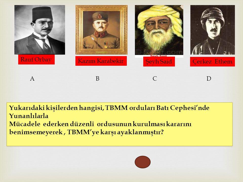 Rauf Orbay Kazım Karabekir. Şeyh Said. Çerkez Ethem. A. B. C. D. Yukarıdaki kişilerden hangisi, TBMM orduları Batı Cephesi'nde Yunanlılarla.