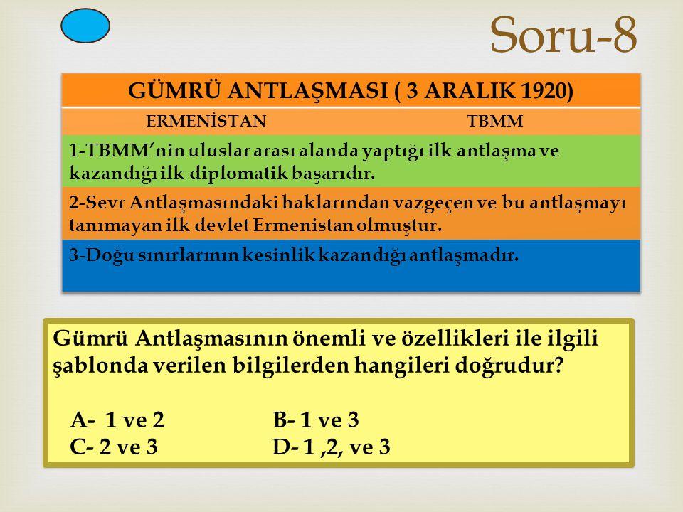 GÜMRÜ ANTLAŞMASI ( 3 ARALIK 1920)