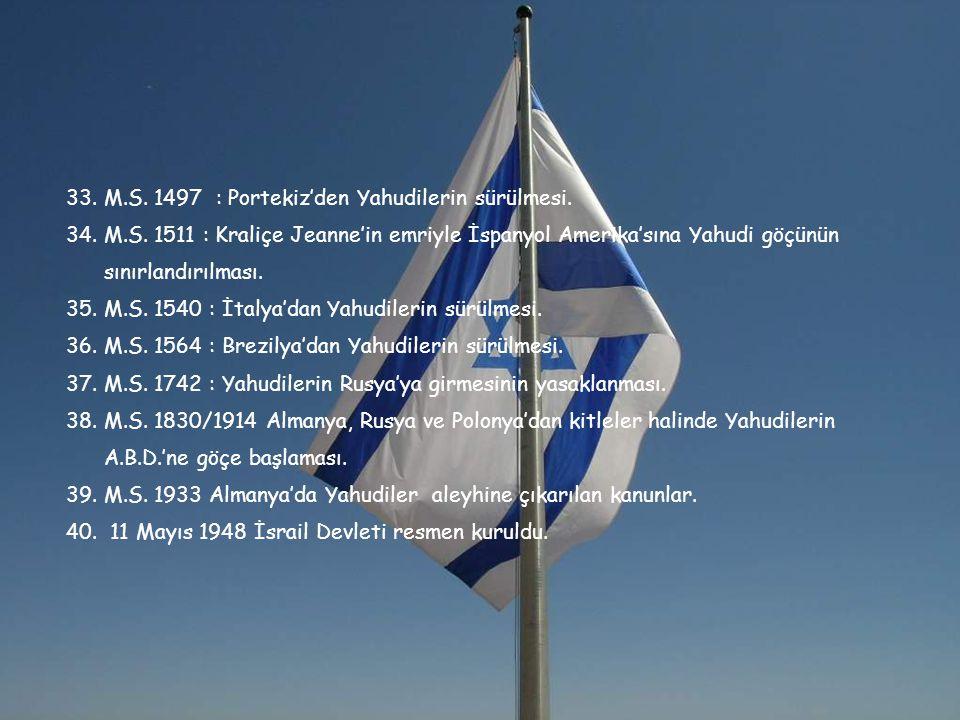 33. M.S. 1497 : Portekiz'den Yahudilerin sürülmesi.