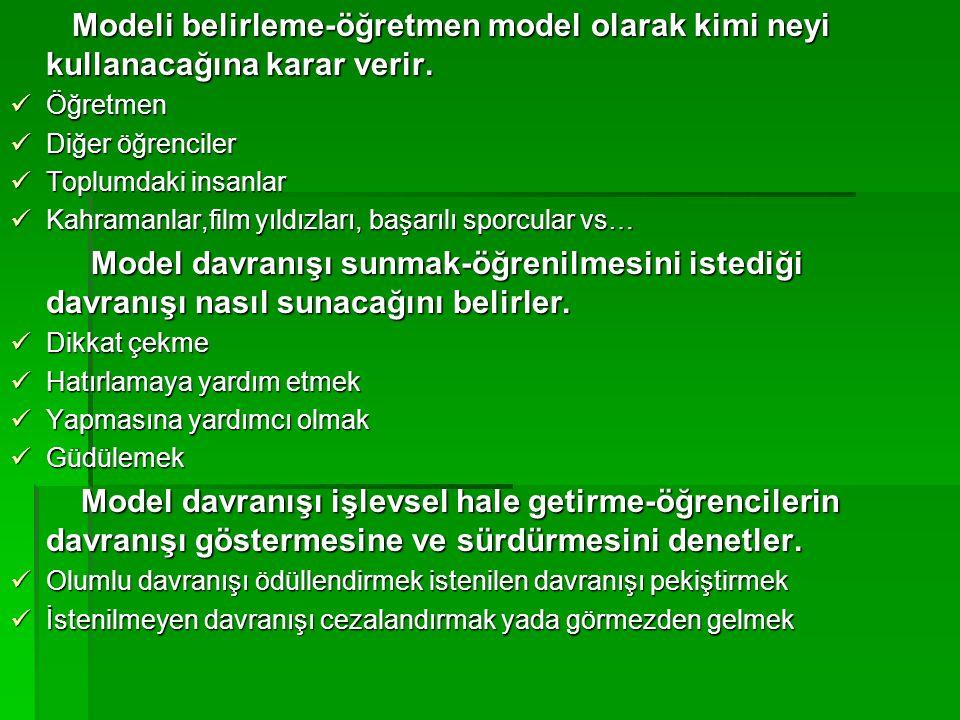 Modeli belirleme-öğretmen model olarak kimi neyi kullanacağına karar verir.