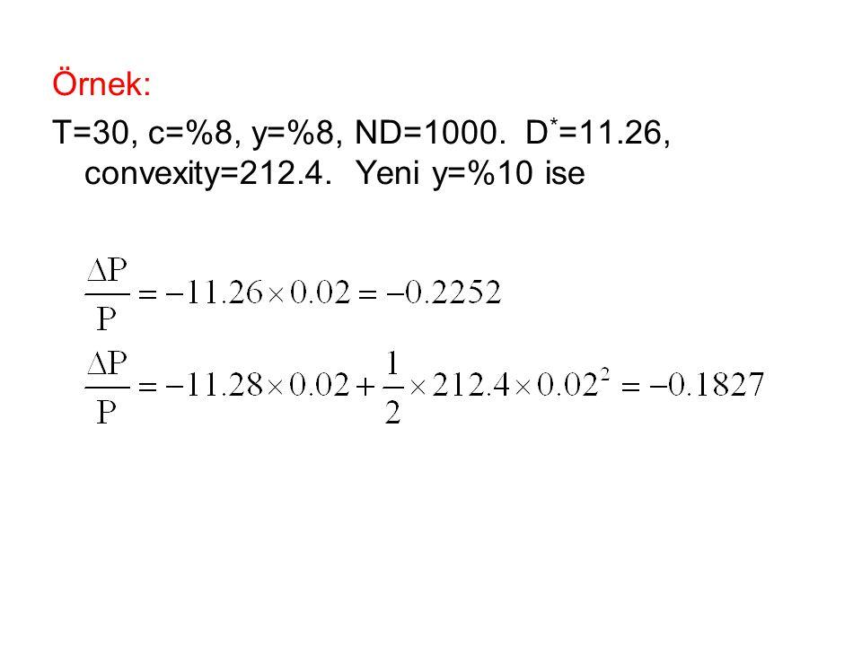 Örnek: T=30, c=%8, y=%8, ND=1000. D*=11.26, convexity=212.4. Yeni y=%10 ise