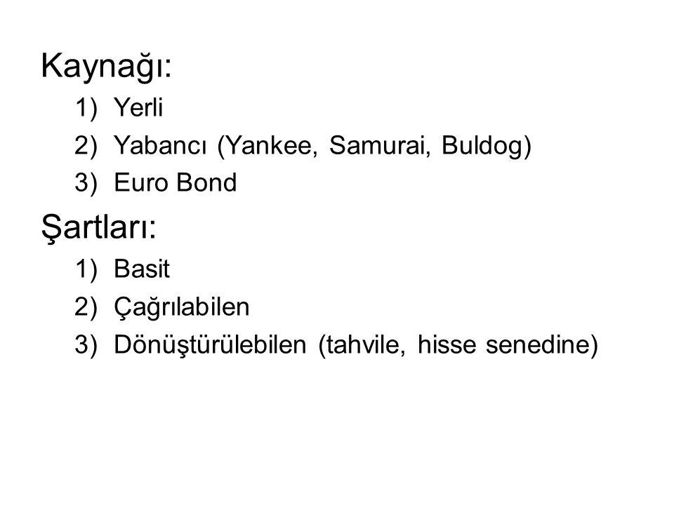 Kaynağı: Şartları: Yerli Yabancı (Yankee, Samurai, Buldog) Euro Bond