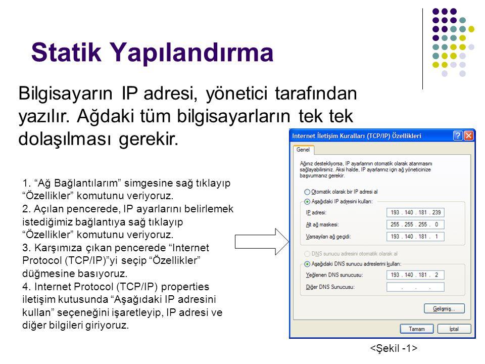 Statik Yapılandırma Bilgisayarın IP adresi, yönetici tarafından yazılır. Ağdaki tüm bilgisayarların tek tek dolaşılması gerekir.