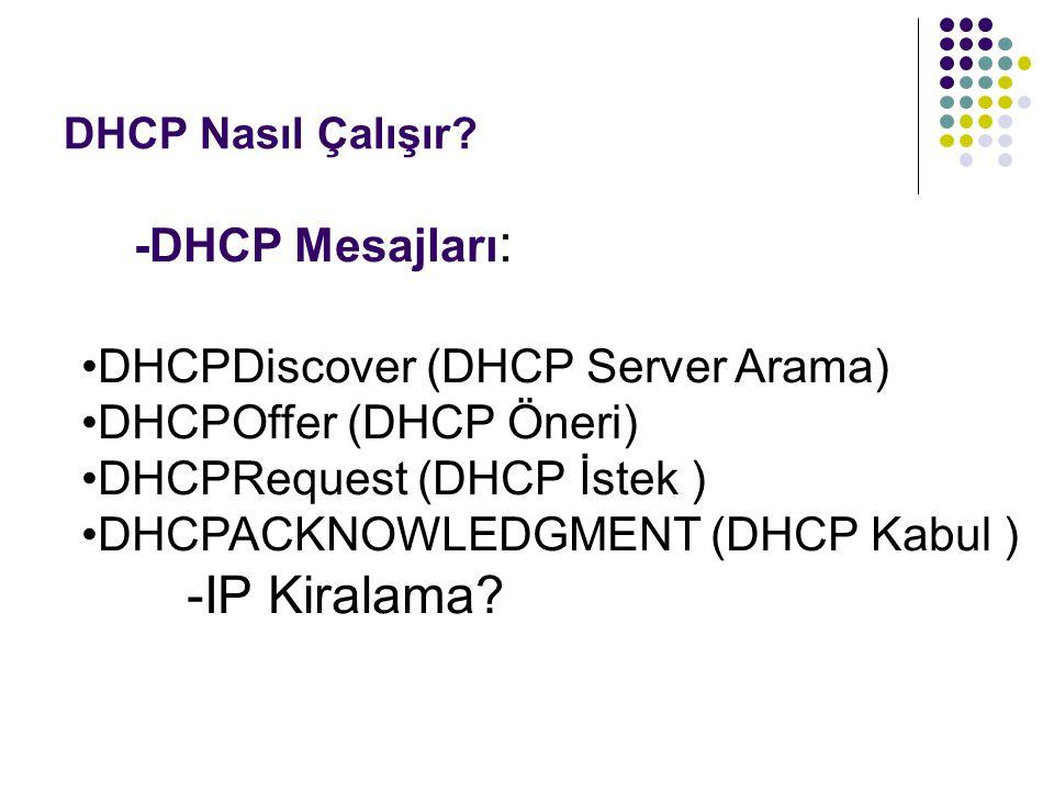 -IP Kiralama -DHCP Mesajları: DHCPDiscover (DHCP Server Arama)