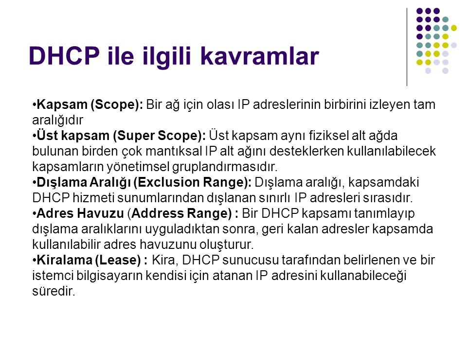 DHCP ile ilgili kavramlar