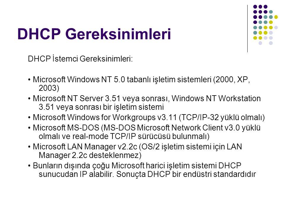DHCP Gereksinimleri DHCP İstemci Gereksinimleri: