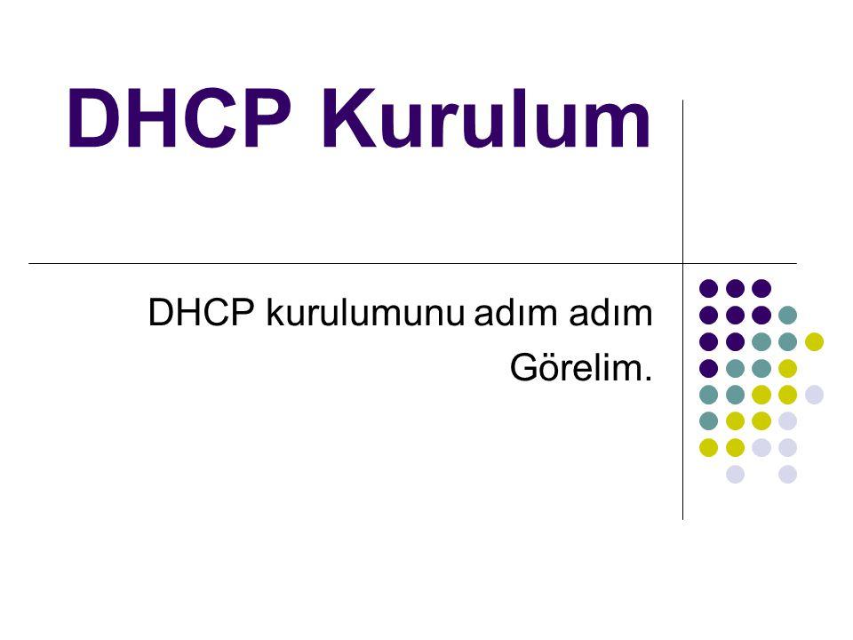 DHCP kurulumunu adım adım Görelim.