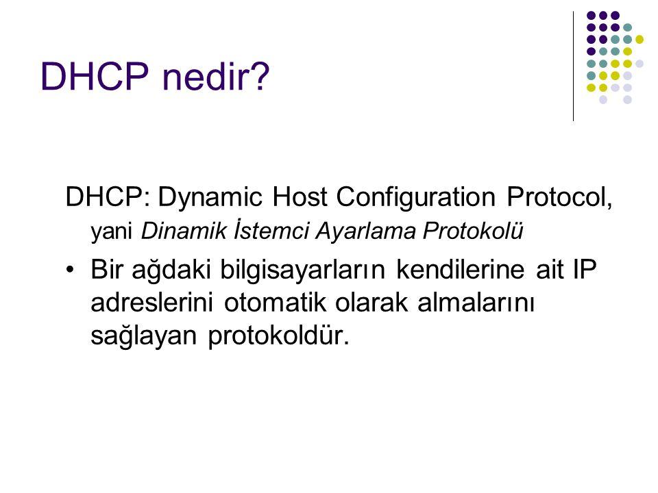 DHCP nedir DHCP: Dynamic Host Configuration Protocol, yani Dinamik İstemci Ayarlama Protokolü.