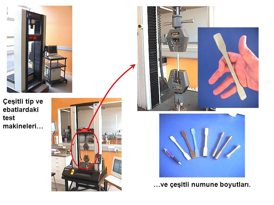 Çeşitli tip ve ebatlardaki test makineleri…