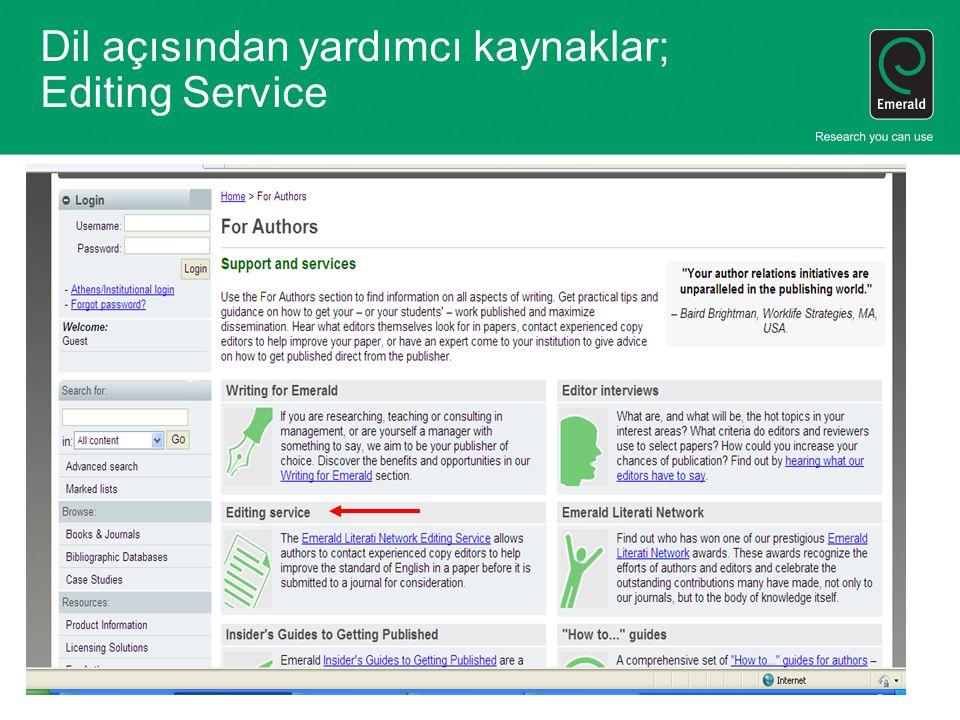 Dil açısından yardımcı kaynaklar; Editing Service