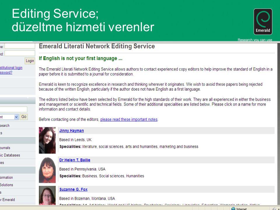Editing Service; düzeltme hizmeti verenler