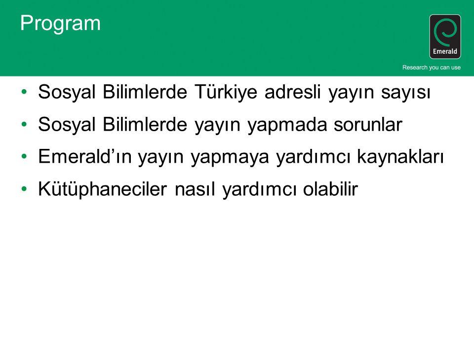 Program Sosyal Bilimlerde Türkiye adresli yayın sayısı