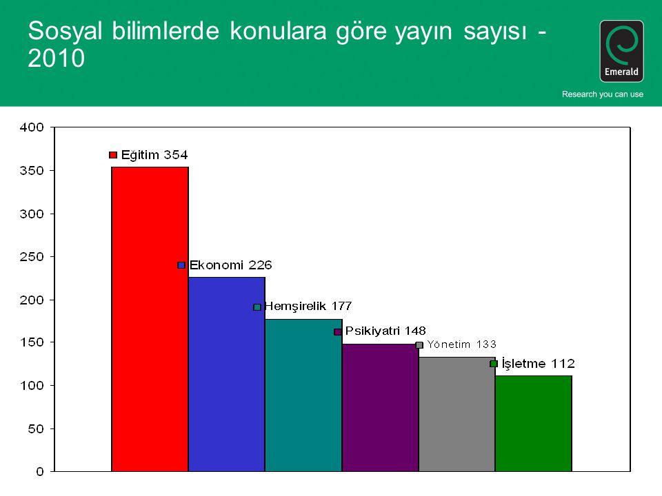 Sosyal bilimlerde konulara göre yayın sayısı - 2010