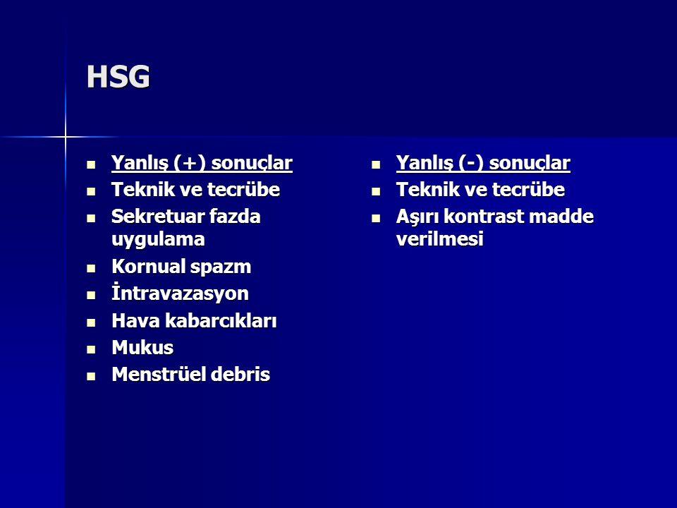 HSG Yanlış (+) sonuçlar Teknik ve tecrübe Sekretuar fazda uygulama