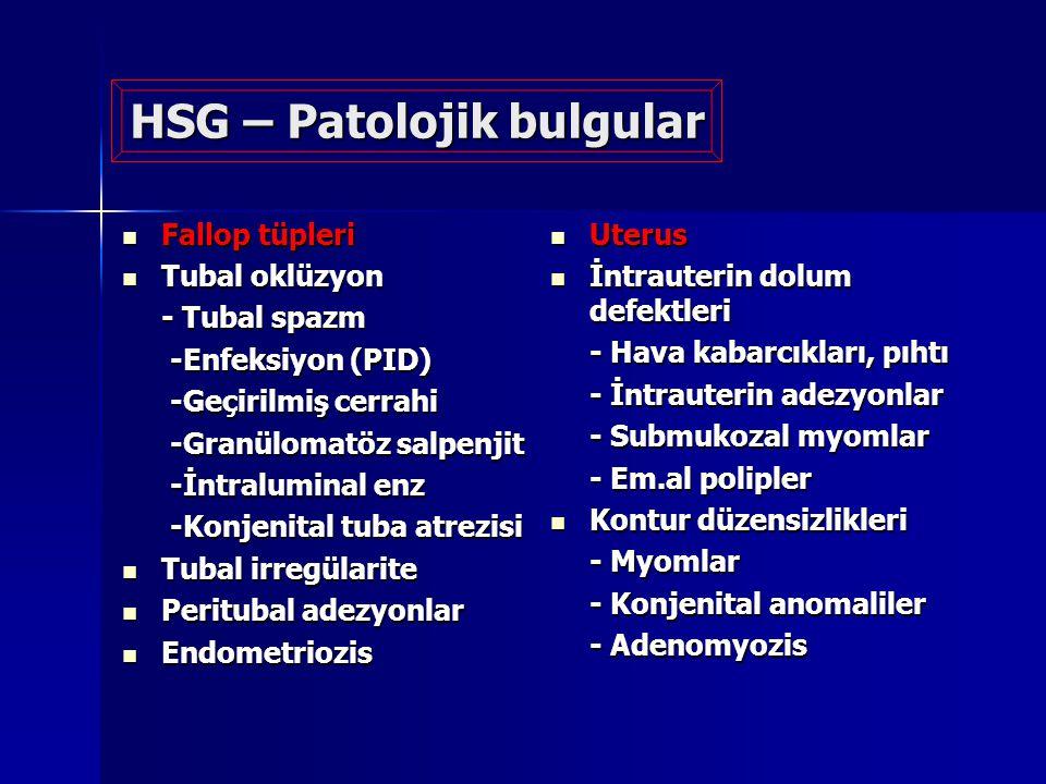 HSG – Patolojik bulgular