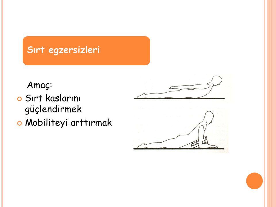 Sırt egzersizleri Amaç: Sırt kaslarını güçlendirmek Mobiliteyi arttırmak