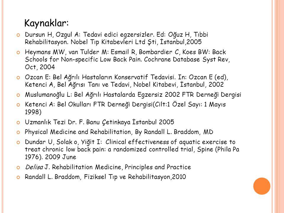Kaynaklar: Dursun H, Ozgul A: Tedavi edici egzersizler. Ed: Oğuz H, Tıbbi Rehabilitasyon. Nobel Tıp Kitabevleri Ltd Şti, İstanbul,2005.