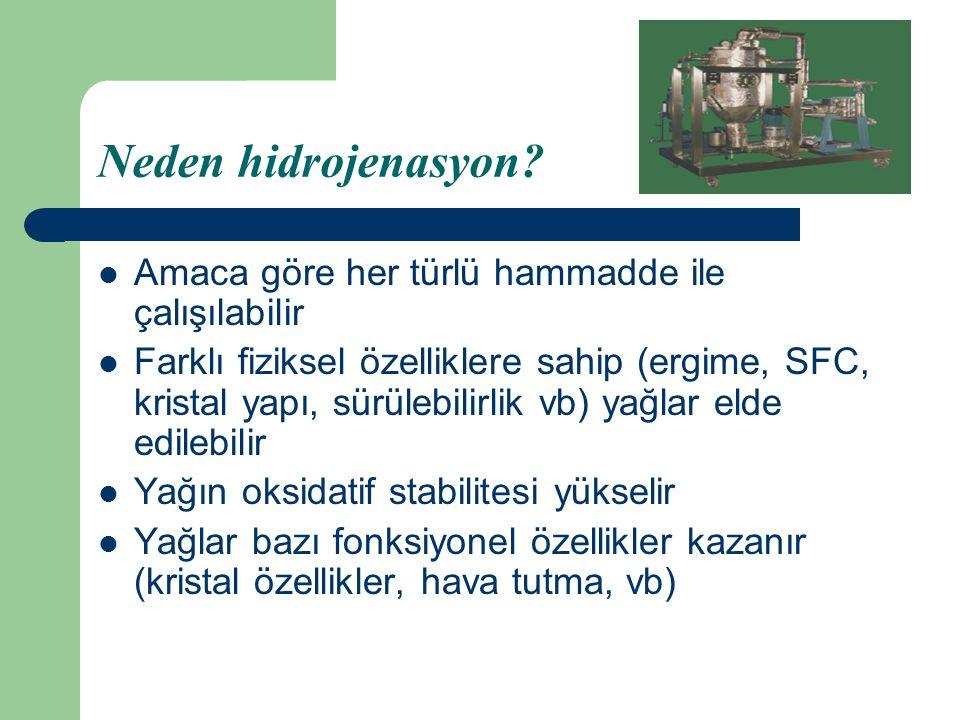 Neden hidrojenasyon Amaca göre her türlü hammadde ile çalışılabilir