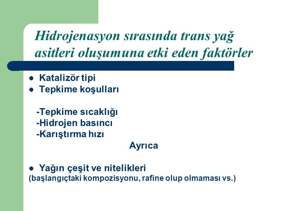 Hidrojenasyon sırasında trans yağ asitleri oluşumuna etki eden faktörler
