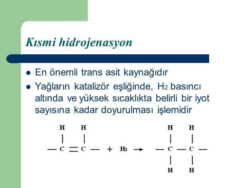 Kısmi hidrojenasyon En önemli trans asit kaynağıdır