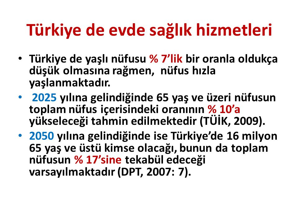 Türkiye de evde sağlık hizmetleri