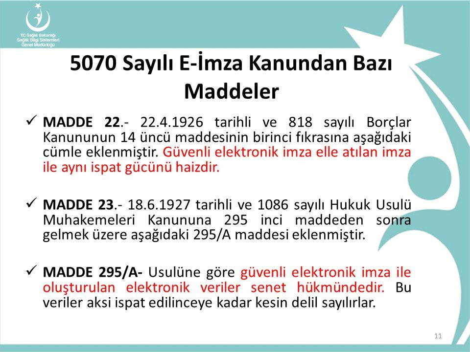 5070 Sayılı E-İmza Kanundan Bazı Maddeler