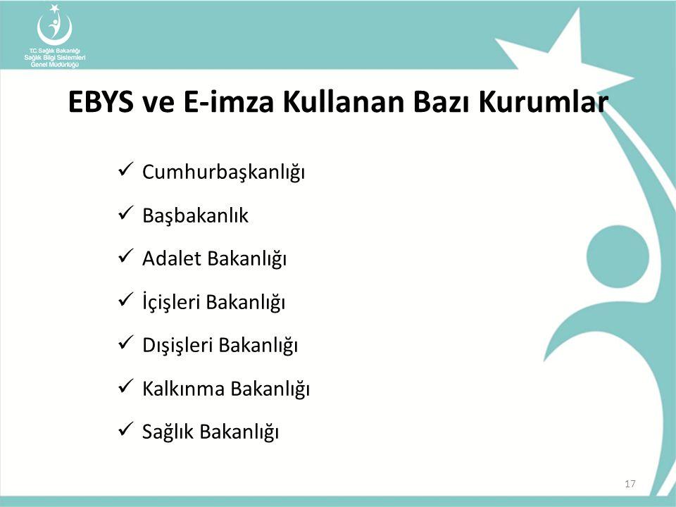 EBYS ve E-imza Kullanan Bazı Kurumlar