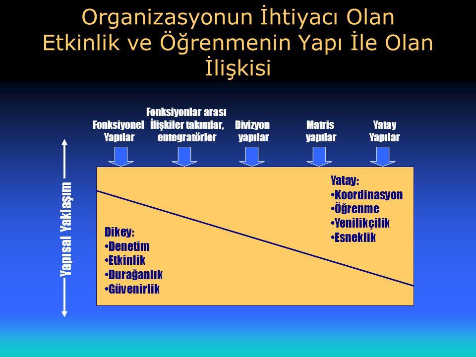 Organizasyonun İhtiyacı Olan Etkinlik ve Öğrenmenin Yapı İle Olan İlişkisi