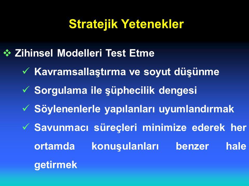 Stratejik Yetenekler Zihinsel Modelleri Test Etme