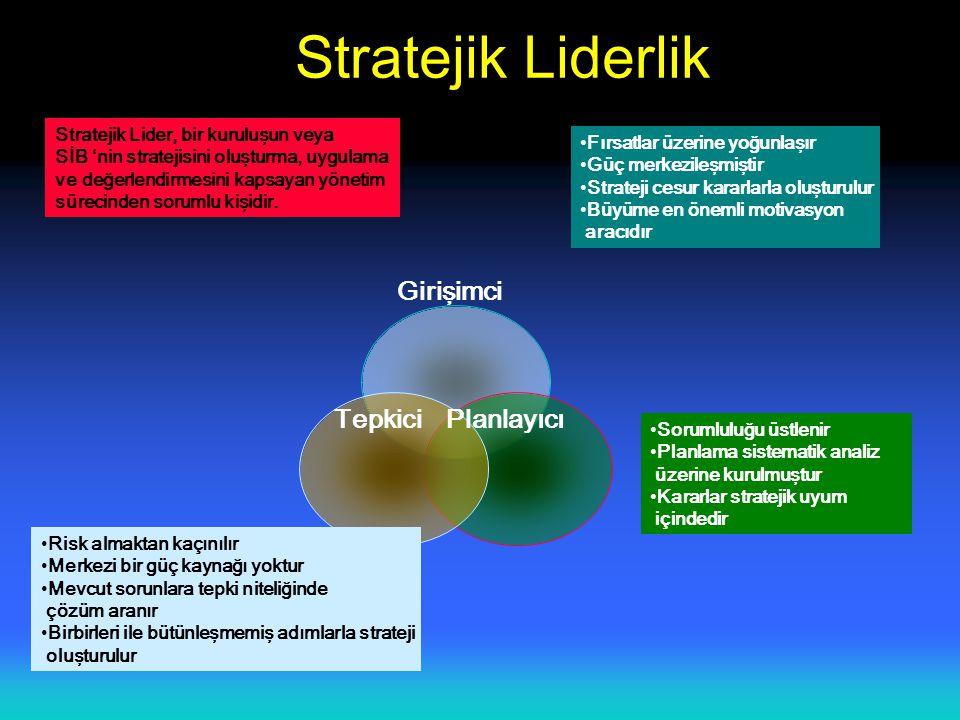 Stratejik Liderlik Girişimci Tepkici Planlayıcı