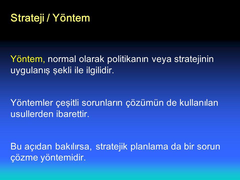 Strateji / Yöntem Yöntem, normal olarak politikanın veya stratejinin uygulanış şekli ile ilgilidir.