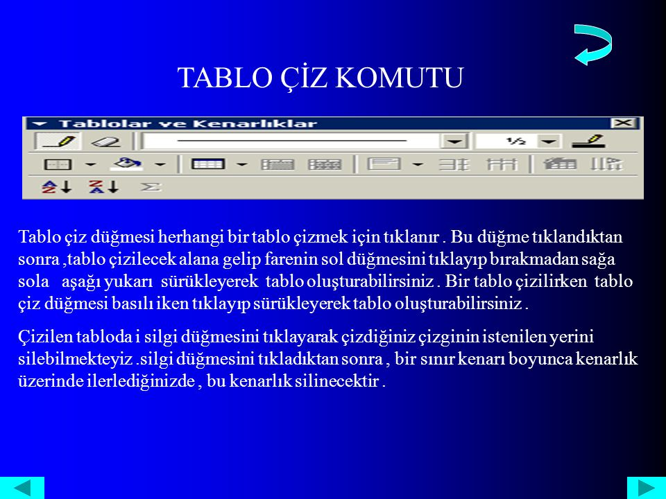 TABLO ÇİZ KOMUTU