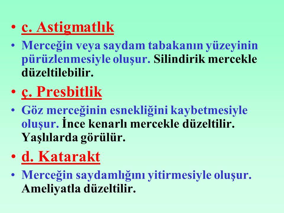 c. Astigmatlık ç. Presbitlik d. Katarakt