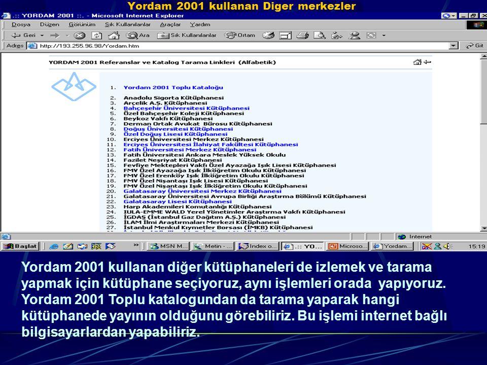 Yordam 2001 kullanan Diger merkezler