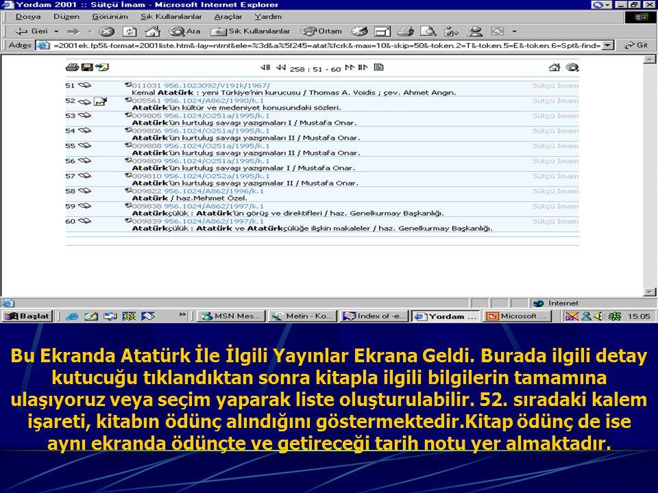Bu Ekranda Atatürk İle İlgili Yayınlar Ekrana Geldi