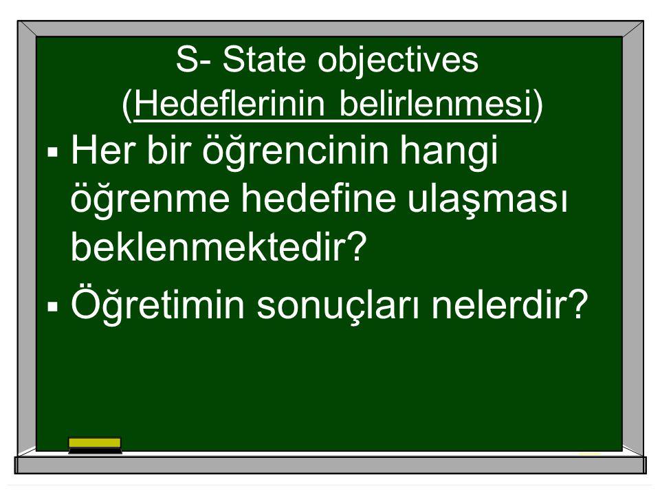 S- State objectives (Hedeflerinin belirlenmesi)
