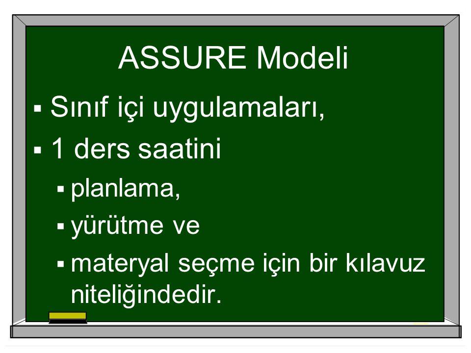 ASSURE Modeli Sınıf içi uygulamaları, 1 ders saatini planlama,