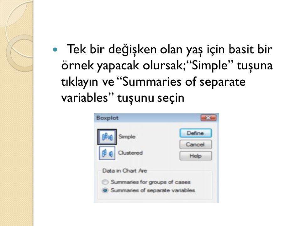 Tek bir değişken olan yaş için basit bir örnek yapacak olursak; Simple tuşuna tıklayın ve Summaries of separate variables tuşunu seçin