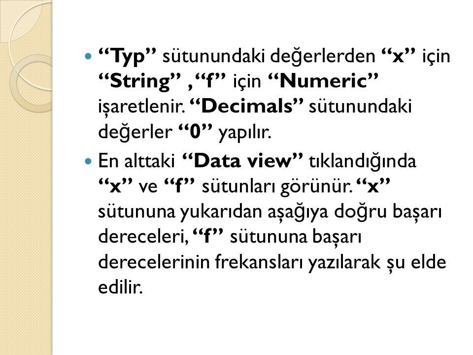 Typ sütunundaki değerlerden x için String , f için Numeric işaretlenir. Decimals sütunundaki değerler 0 yapılır.