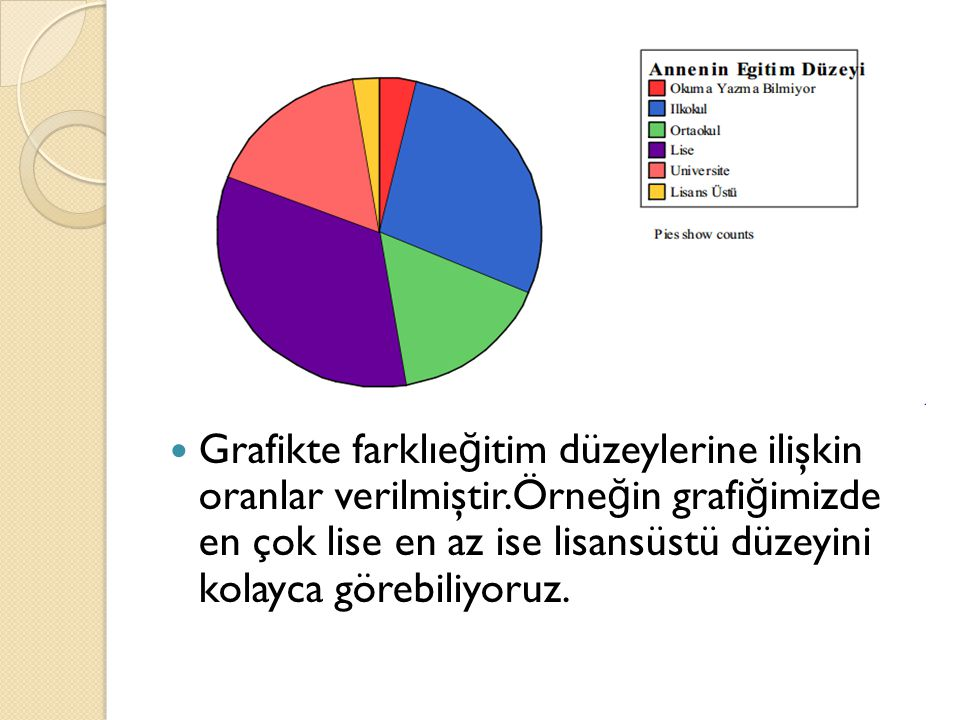 Grafikte farklıeğitim düzeylerine ilişkin oranlar verilmiştir