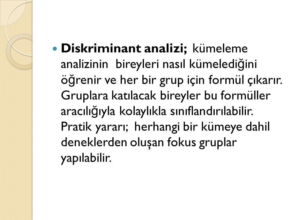 Diskriminant analizi; kümeleme analizinin bireyleri nasıl kümelediğini öğrenir ve her bir grup için formül çıkarır.