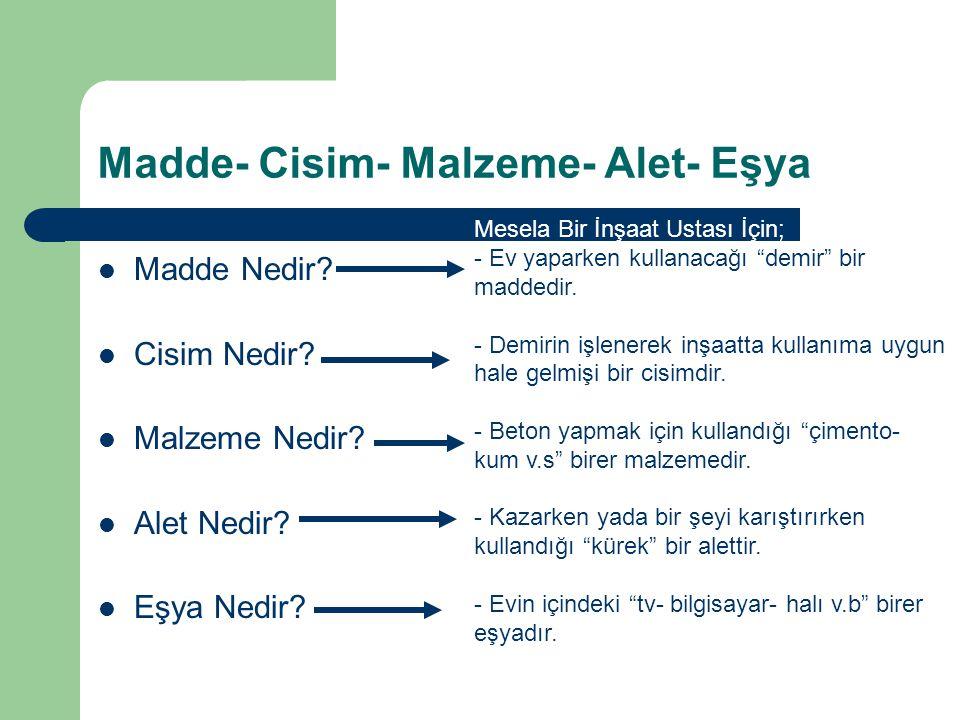 Madde- Cisim- Malzeme- Alet- Eşya