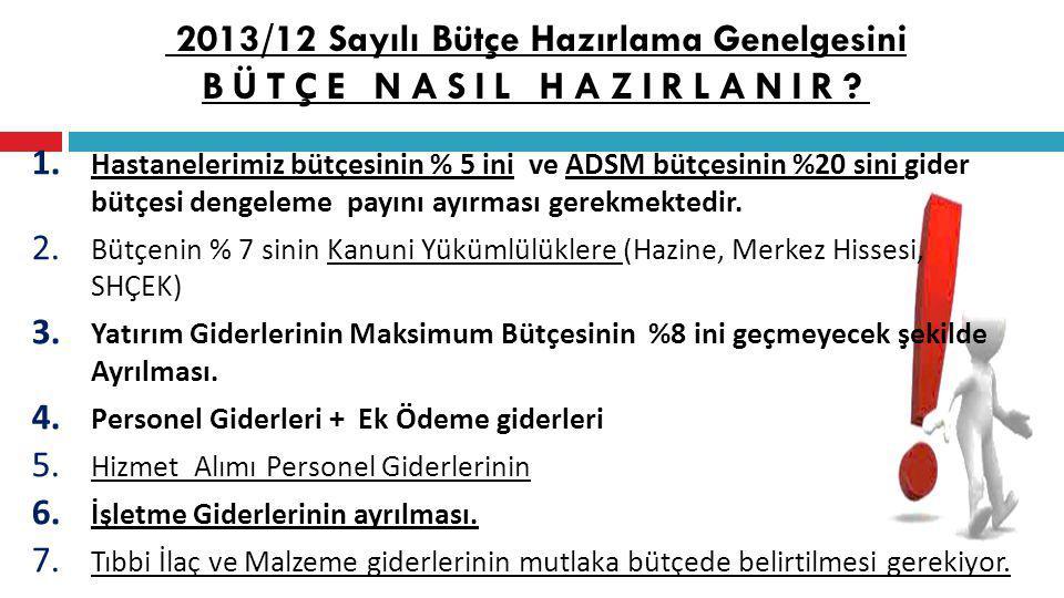 2013/12 Sayılı Bütçe Hazırlama Genelgesini BÜTÇE NASIL HAZIRLANIR