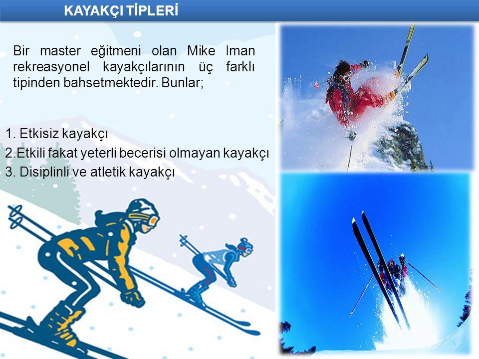 KAYAKÇI TİPLERİ Bir master eğitmeni olan Mike Iman rekreasyonel kayakçılarının üç farklı tipinden bahsetmektedir. Bunlar;
